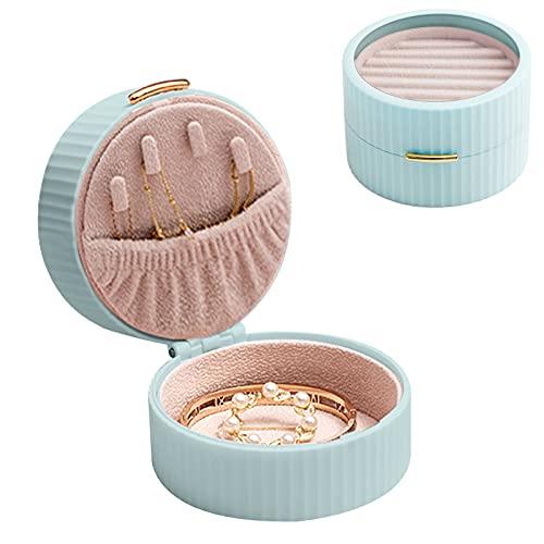 RUIYELE Pequeña caja de joyería de viaje de 2 capas, soporte de almacenamiento para joyas, mini organizador redondo para niñas, mujeres, anillos de regalo, pendientes, collares y almacenamiento