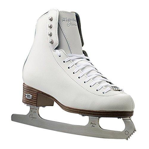 Riedell Skates - 133 Diamond - Women's Ice Figure Skates with Capri Blade | White | Size 8 1/2 Wide |