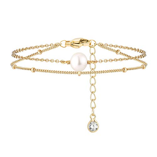 Yiyang Anklets for Women 14K Gold Plated Cute Dainty Boho Pearl Turtle Coin Crystal Bead Layered Beach Anklet Birthday Vacation Jewelry Gift for Daughter Wife Sister Girlfriends