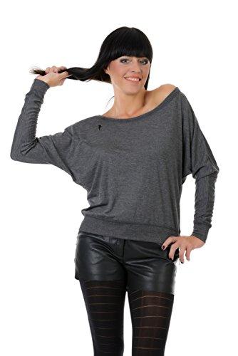 Schulterfreies Longsleeve Oberteil Damen Langarm Shirt Druckshirt Logo Elfe von 3 Elfen - grau schwarz XL Longshirt