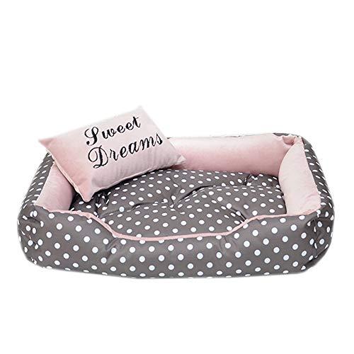 Wasbaar Comfortabel zacht hondenbed, petbed met omkeerbare kussensloop, dubbelzijdig hondenmandje, voor kleine middelgrote en grote hondenkat, M(65x50x14cm), roze