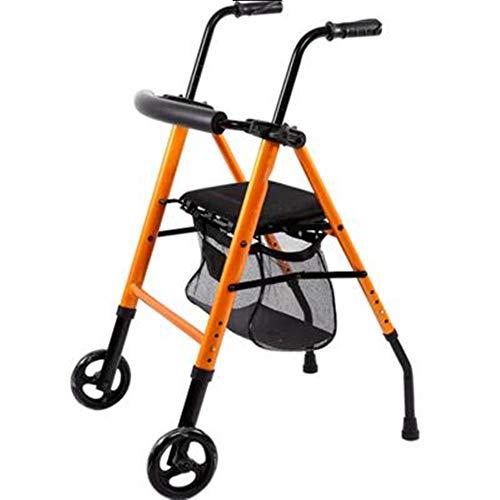 LIUQIGRASS Seniors Opvouwbare Rollator Walker, 2 Wiel Rollator Walker met Zitting, Vouw Verwijderbare Rugsteun Walker voor Ouderen, Uitgeschakeld, Oranje
