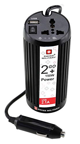 Swiss Military CIV1 Car Invertor/Charger with ion Bars (Black), White