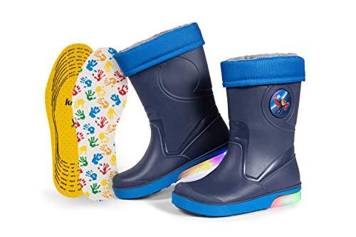 Botas de Agua para Niños | Forro de Piel Sintética Desmontable con Plantillas Kaps Adicionales | Suela Muy Chula con Iluminación LED y Tira Reflectante 3M Scotchlite | Hechas en Italia (24/25 - Azul)