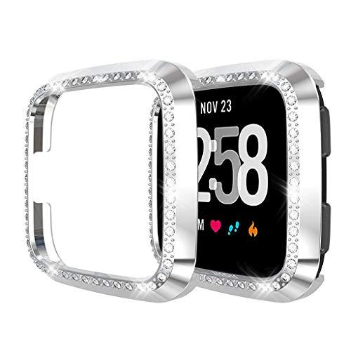 Coque Compatible avec Fitbit Versa/Lite Protecteur D'écran Coque Silicone, Cristal de Couverture Totale PC Cas Protecteur D'écran, pour Fitbit Versa/Lite Protecteur de Couverture (Argent)