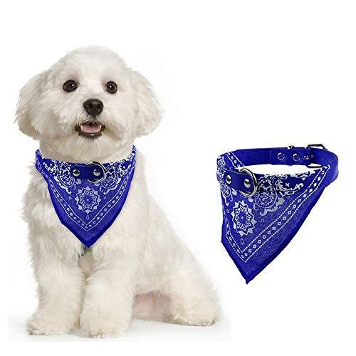 LLXXYY halsbanden voor honden, blauw verstelbare huisdier hond puppy kat mode Charmante chique hals sjaal Bandana kraag halsdoek alle seizoenen ademend gevoerde zachte gezellige lichtgewicht outdoor training kraag, S