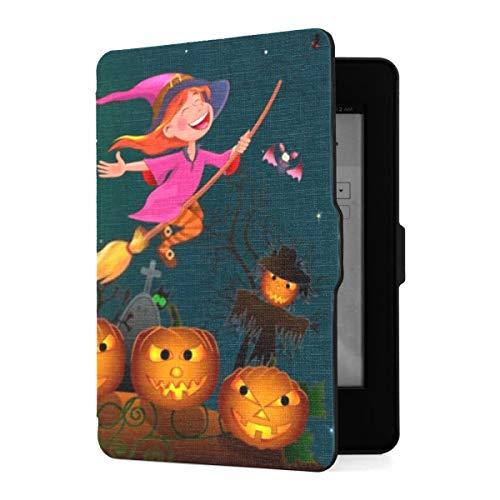 Kindle Paperwhite 1 2 3 Hülle, Nacht an Halloween Little Witch Flies Pu Ledertasche...