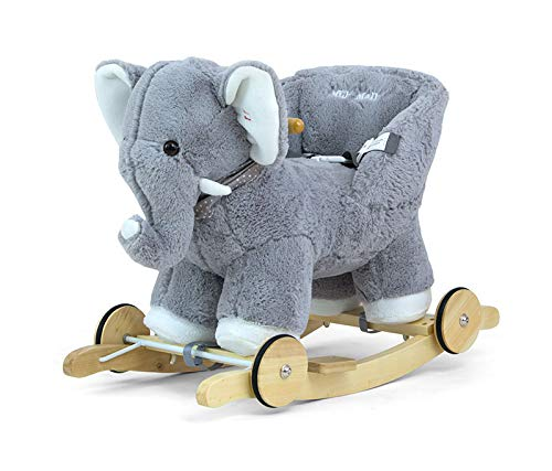 POLLY 2in1 Kuschelweich Schaukelpferd Plusch Schaukeltier Schaukelspielzeug in 9 Farben mit Soundeffekten für Kleinkinder (12 Monate+), Muster:Grey Elefant