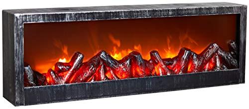 BRUBAKER LED Kamin Kaminofen Tischkamin - realistischer LED Flammeneffekt - Silber Antik gebürstet - 60 x 20 cm