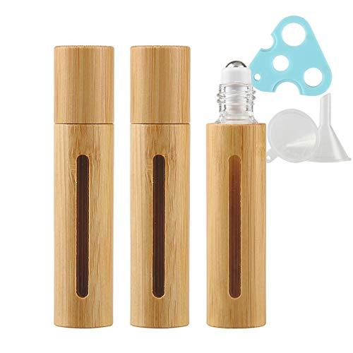 TIANZD 3 Stück 10ml Leere Natur Bambus Leere Roller Glas Flaschen, Roll-on Glasflaschen mit Edelstahl-Roller Ball, für Ätherische Öle Essential Oil 1x Trichter, 1x Blau Öffner