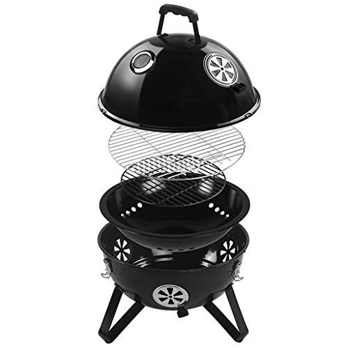 Kitchen Barbecue Racks Masonry Barbecue Villa Garden Braised Oven Household Charcoal Grill Large Round Barbecue Grill Outdoor Portable Delicious Barbecue Gift (Color : Black, Size : 46.5 * 57cm)