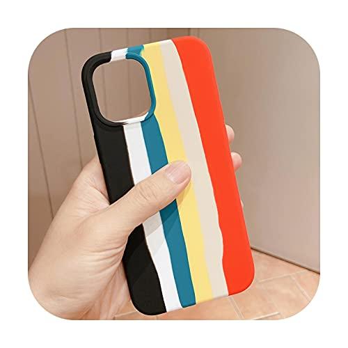 Carcasa de silicona líquida suave de color degradado de rayas arcoíris para iPhone 12/11 Pro Max XR XS Max 8 7 6s Plus SE cubierta-amarillo-para iPhone 11 (6.1)