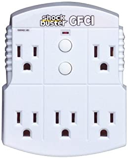 Morris Products 5 Outlet GFCI Shock Buster – GFCI Protected, Converts Outlets to GFCI – 1875 Watt, 120 Volt, 15 Amp – Fits Standard 3 Wire Outlet – LED ON Power Indicator