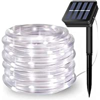 100LED Guirnaldas Luminosas Exterior,EHOFUN Solar Alimentado 39FT Impermeable Alambre de Cobre Tira de Tubo Luces de Cadena para Jardín Fiesta Boda Navideña Decoración (Blanco)