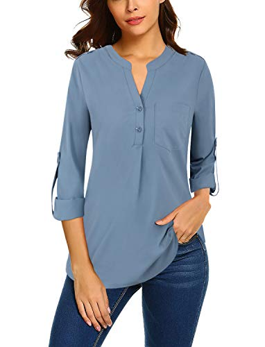 Bulotus Women Blouses and Tops for Work Long Sleeve Chiffon V Neck Business Casual Shirts, Blue, Medium