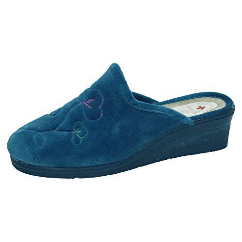 MADE IN SPAIN 7503 Zapatillas Flores Mujer Zapatillas CASA Tejano 39