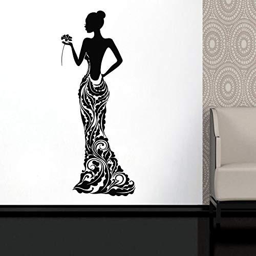 Hermosa mujer modelo vestido de niña rosa Bobo patrón de flores falda vinilo etiqueta de la pared calcomanía dormitorio sala de estar salón de belleza estudio decoración del hogar mural