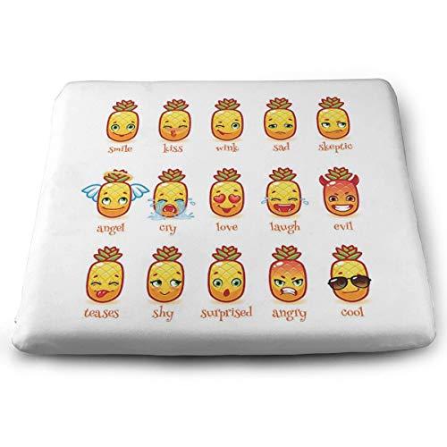 Rückstellschaum-Kissen für Rollstuhl, zur Druckentlastung, 38,1 x 33 cm, niedliches Ananas-Emoji