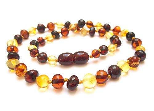 Amberta Collier Ambre 32cm. - 100% Plus Haute Qualite Certifie l'Ambre la Baltique Authentique Collier Perles