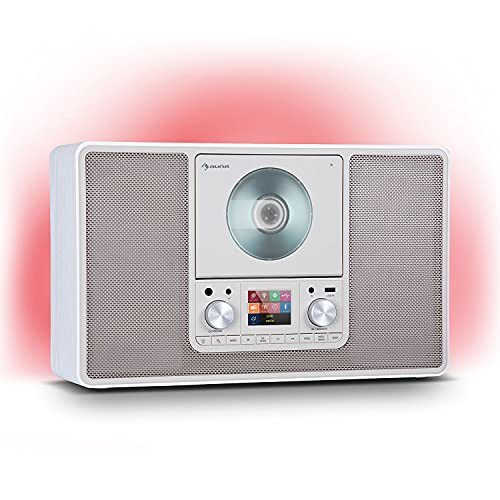auna Scala VCD-IR - Radio Digital con Internet, Sintonizador Dab/Dab+/FM, Bluetooth, Reproductor CD, USB, AUX, 2 x 10 W RMS, Posible Montaje en Pared, Pantalla TFT 2,4