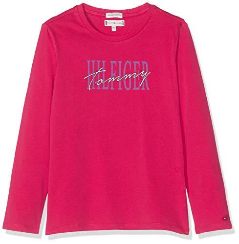 Tommy Hilfiger Mädchen Essential Graphic Tee L/S T-Shirt, Rot (Virtual Pink 638), 104 (Herstellergröße:4)