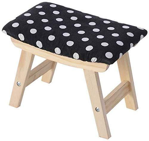 ZFFSC Taburete de madera maciza para cambiar zapatos, taburete de sala de estar, taburete de tela, banco pequeño, extraíble y lavable para adultos, negro, Dots