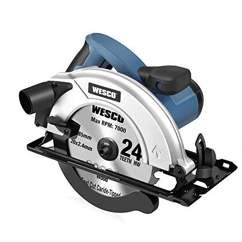 Kreissäge, WESCO 1400W Handkreissäge 5800rpm, Max Schnitttiefe 65mm (90º), 45mm (45º) mit Kreissägeblatt 185mm für Fliesen, Holz, Metall