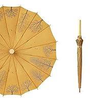 レトロな中国風16骨無垢材の小さな新鮮な傘、長い柄のストレートポールギフト傘