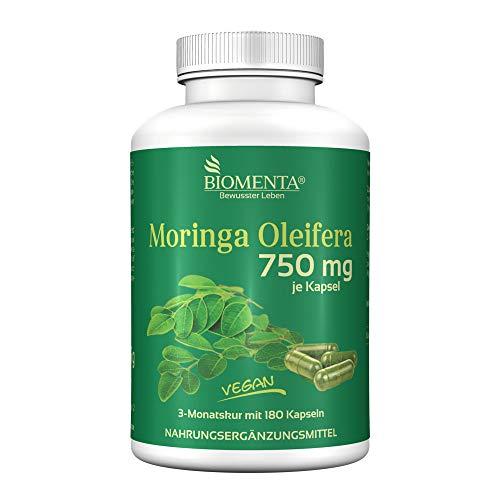 BIOMENTA Moringa Oleifera – Moringa hochdosiert mit 750 mg je Kapsel - 180 Moringa Kapseln – vegan - 3 Monatskur
