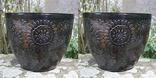 2 X Pack Large Plastic Round Chengdu Garden Plant Pots Planter Indoor Outdoor Pots 30cm Black/Copper...