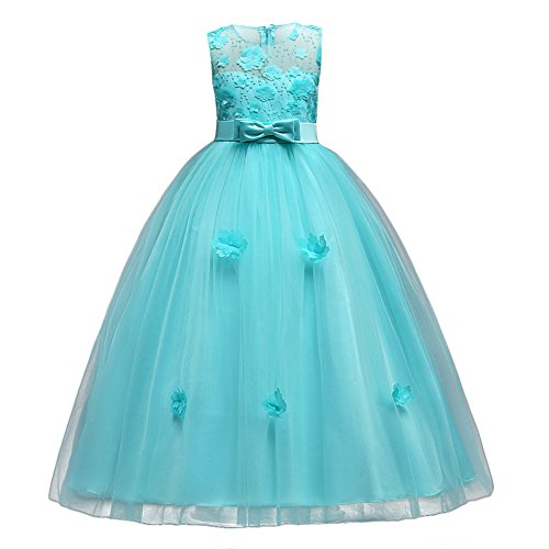 Little Big Girls'Tulle Retro Vintage Dresses Flower Lace Pageant Party Wedding Bridesmaid Floor Length Dance Evening Gowns Turquoise 8-9 Years