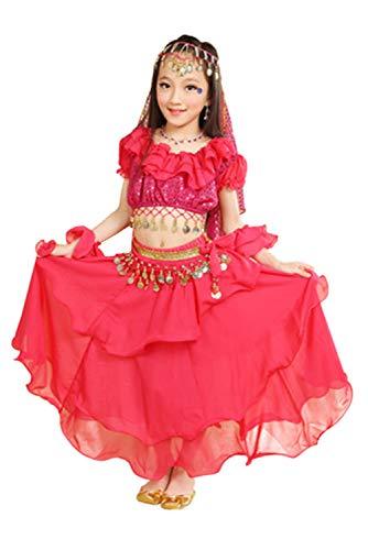 Joyplay Disfraz De Danza del Vientre para Nina Disfraz De Gitana Vestido De La Danza del Vientre Rojo Vestido De Rendimiento Indio De Bollywood, 110-120