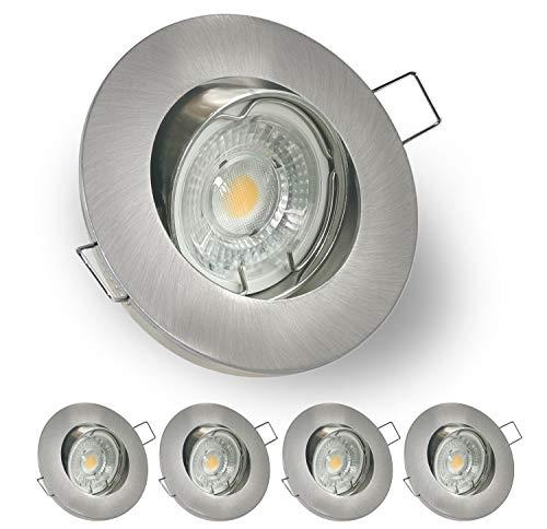 LED Einbaustrahler 5Set 7W 230V GU10 Warmweiß 3000K LED Spot Deckeneinbauleuchte, 45° Schwenkbar Strahler für Küche Korridor Wohnzimmer Schlafzimmer LED Einbauleuchten Ausschnitt 68mm Matt Nickel