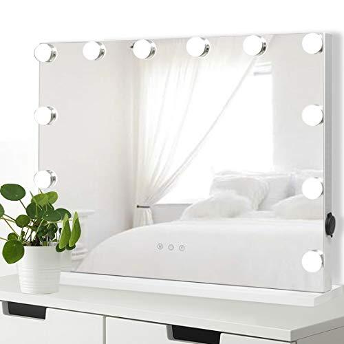 iCREAT Hollywood Spiegel Schminkspiegel mit Beleuchtung für Schminktisch Makeup Spiegel mit Licht 12 Dimmbare LED Lampen 3 Farbtemperatur USB Tischspiegel Kosmetikspiegel Vanity Mirror 58X43cm Weiß