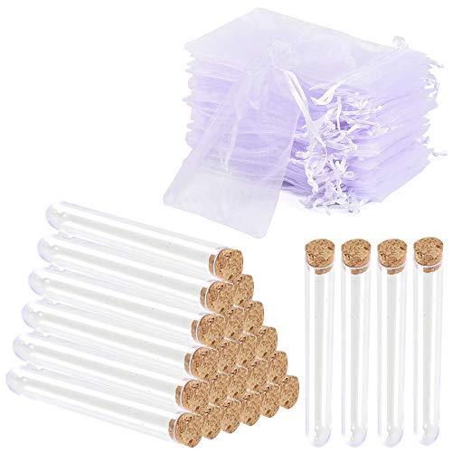 KINDPMA 25 Piezas Tubo de Ensayo Tubo de Ensayo Cristal con Bolsa de Malla Blanca Tubo de Ensayo con Tapon de Corcho Seguridad y Protección del Ambiente para Laboratorio Decoración Planta Caramelo
