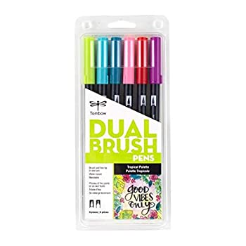 Tombow 56211 Dual Brush Pen Art Markers Tropical 6-Pack Blendable Brush and Fine Tip Markers