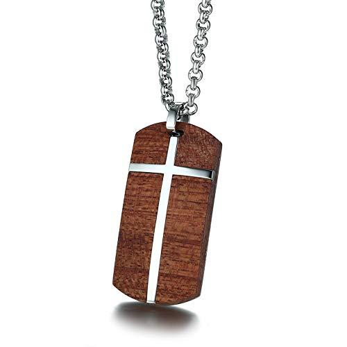 DYKJ Collares para Hombre únicos Collares con Incrustaciones Cruzadas de Palo de Rosa Hechos a Mano Joyas de Madera para Hombres con Acero Inoxidable