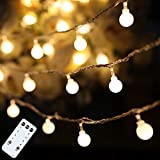 Globe String Lights 59 Ft 100 LED Fairy Lights Plug in with Remote for Indoor Outdoor Wedding Bedroom Porch Patio Party Festive Decor, Warm White