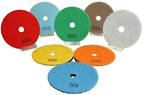 Polijstschijven van 100 mm diameter, geschikt voor alle haakse slijpers, 8-delig.