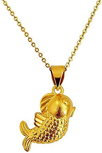NC190 Collares con Colgante de Cabeza de pez de Color Dorado de 24 K para Mujer, Gargantilla estética, Cadenas de eslabones, dijes, joyería de Boda, Regalos Nupciales
