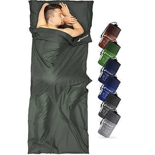 Fit-Flip Sábana Saco de Dormir térmico, Sábana de Viaje, Saco sábana para Adultos, Saco de Dormir de algodón con Cremallera - Apertura a la Derecha - Color: Gris Oscuro