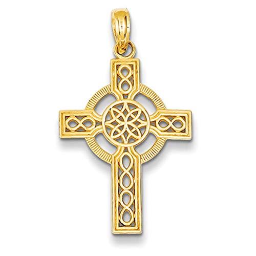 Lex & Lu 14k Yellow Gold D/C Celtic Cross Pendant LAL78217