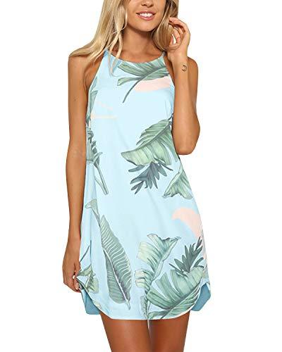 YOINS Strandkleider Damen Sommer Casual Sommerkleid Damen Kurz Strand Schulterfrei Elegant Kleider Ärmellos Minikleider A-hellblau S