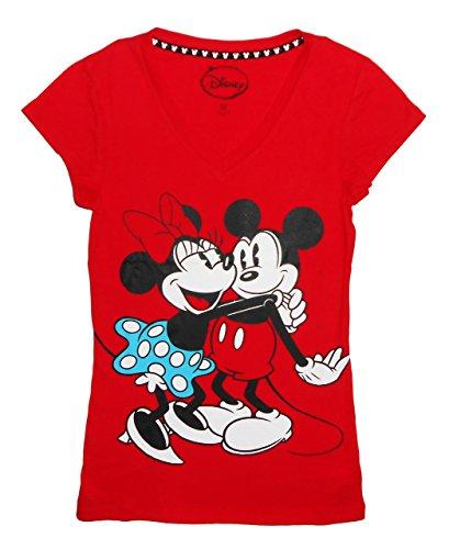 Disney Juniors Ladies Mickey & Minnie Hug T-Shirt, Red, Extra Large