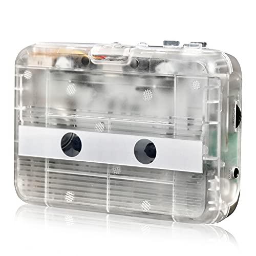 HRNAKDFKL Leitor de cassete, saída Bluetooth transparente, leitor de rádio FM Walkman com conector de áudio de 3,5 mm USB / leitor de fita portátil operado por bateria, tipo Walkman, sem necessidade de computador para entretenimento