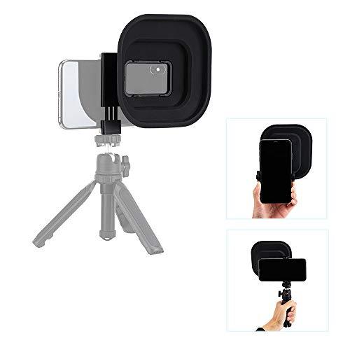 JJC Parasol de lente para iPhone 12 11 XS XR y otros teléfonos móviles con cámara izquierda (ancho 60-85 mm), capucha antirreflectante con rosca de 1/4'-20, elimina los reflejos de la ventana