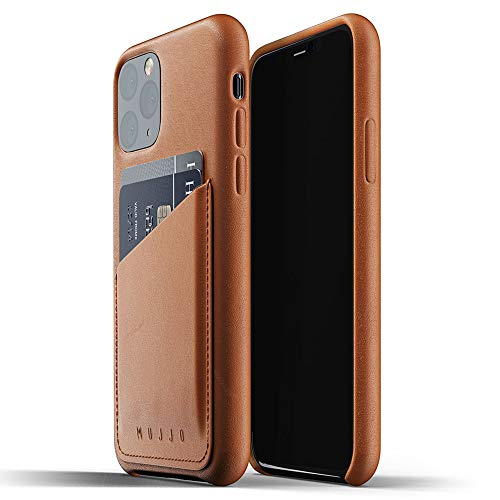 Mujjo Full Leather Wallet Case for Apple iPhone 11 Pro | 2-3 Card Holder Pocket | Premium Soft Supple Leather, Unique Natural Aging Effect (Tan)