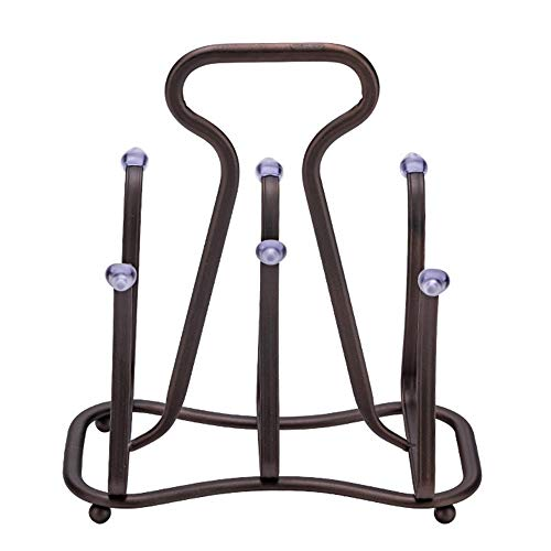 7U Cup Drying Rack, Creative Rustic Metal Drying Rack Tree Stand with 6 Hooks for Mugs, Glasses, Bottles on Kitchen Countertop, Cabinet - Antique Bronze