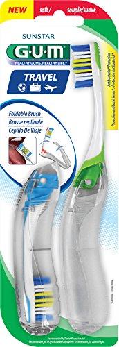 GUM Travel Toothbrush with Antibacterial Bristles & Folding Handle, Soft Bristles, 2 Count