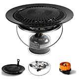 Odoland 3-in-1 Camping Stove Camping Grill Set, Includes Large Size Bottle Top Camping Stove, Grill Gate and Gate Holder, Canister Adapter, Perfect for Camping Family Gathering Outdoor Picnic